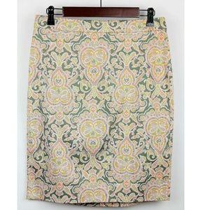 J. CREW floral paisley pencil skirt sz 10